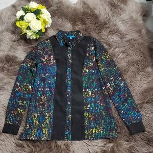 Black Multi color Long Sleeves Button Down Shirt